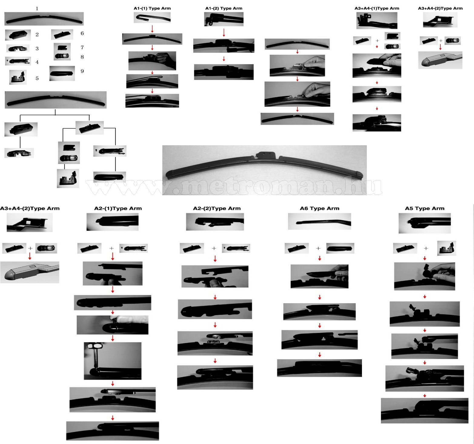 """WBA16 Flexibilis ablaktörlő lapát, 8 adapteres 16"""" / 40 cm"""