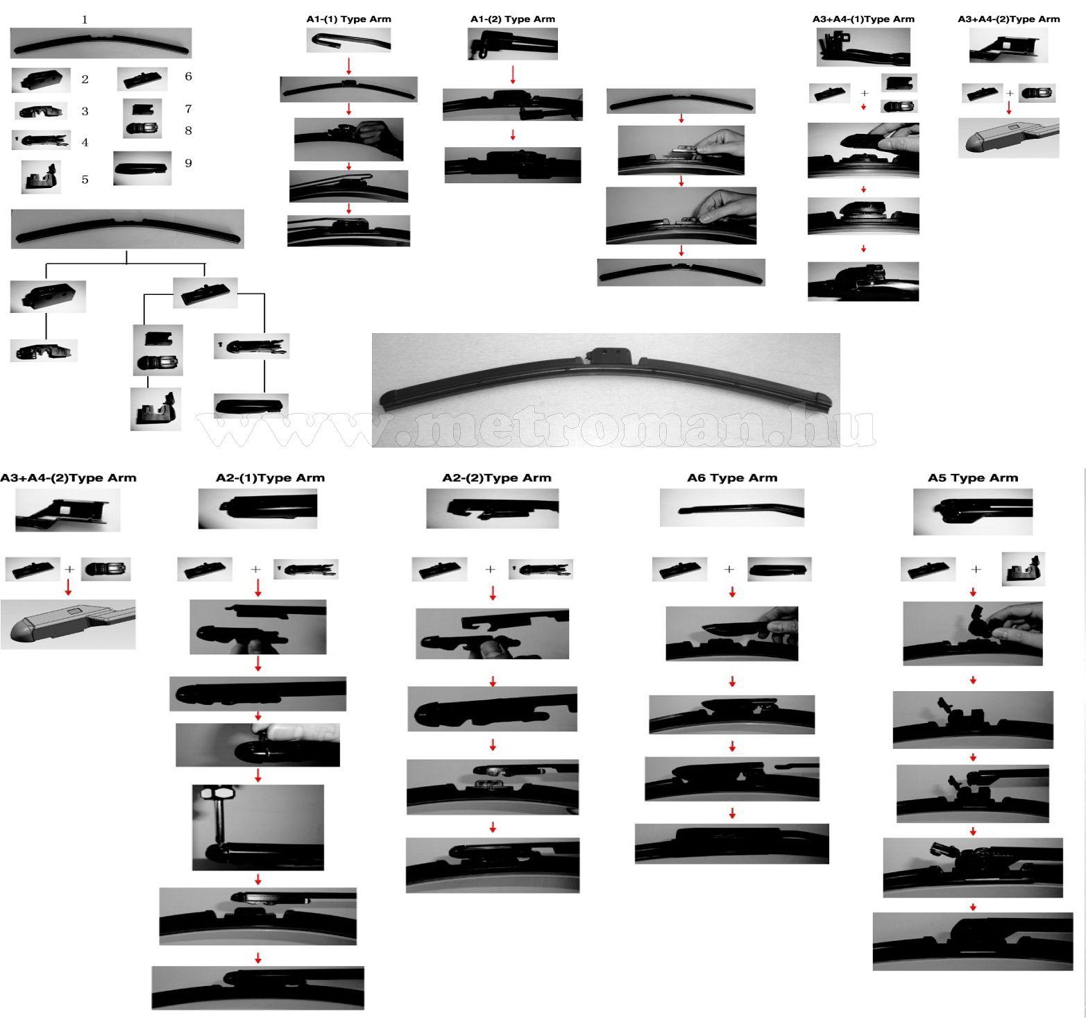 """WBA22 Flexibilis ablaktörlő lapát, 8 adapteres 22"""" / 55 cm"""