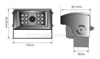 Kamion, teherautó, munkagép tolatókamera motoros előlappal, Sharp Vision SV-CW635MCAI