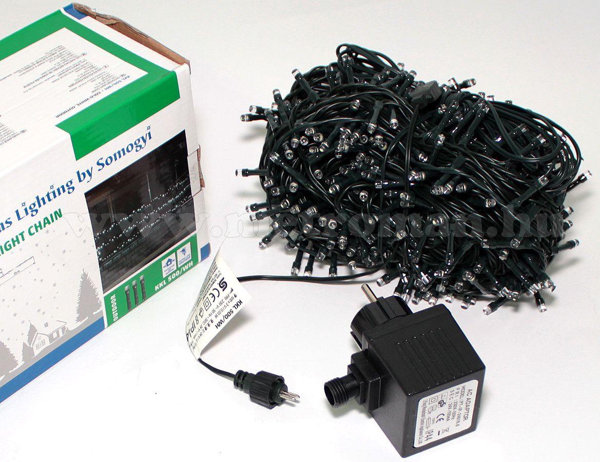 Karácsonyi kültéri LED égősor, Fényfüzér,  KKL 500/WW Meleg fehér