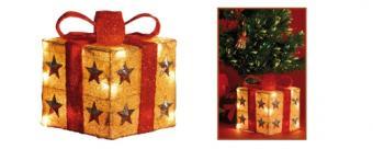 Karácsonyi világító ajándék doboz, piros-arany, KBX 15/RD