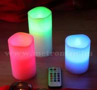 Karácsonyi, színes 3 db-os LED gyertya szett CDR 3M