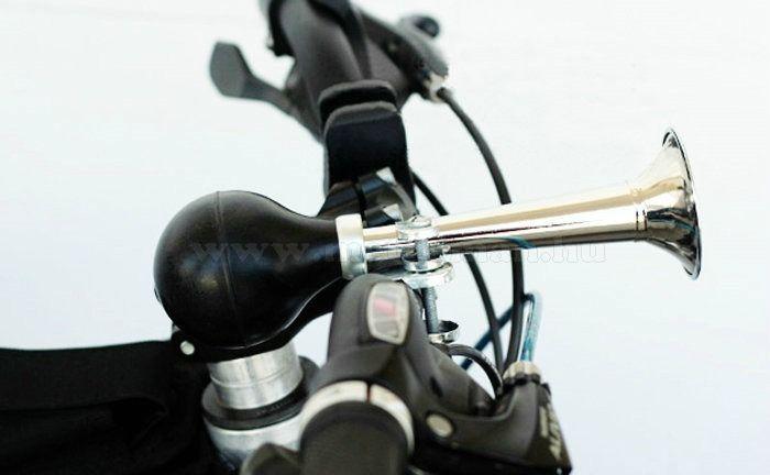 Retro, fém kerékpáros és motoros kürt, Fekete-Króm