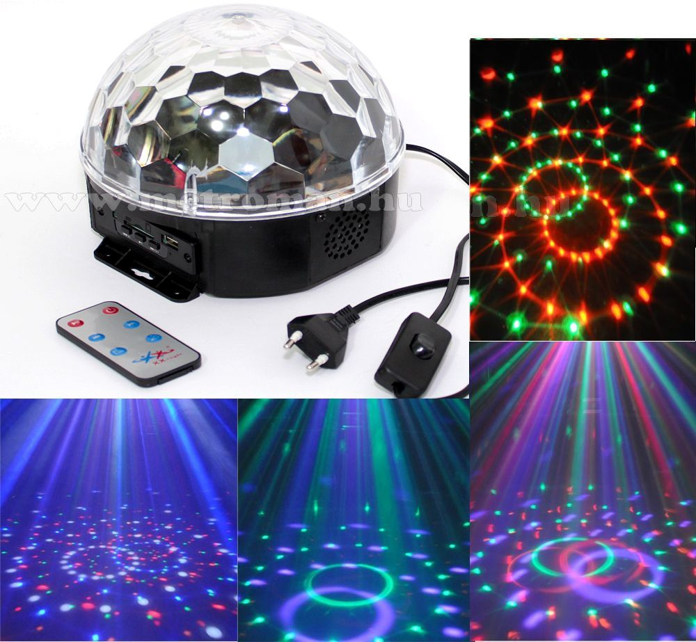 RGB LED Magic diszkó gömb és USB/SD MP3 lejátszó DL 6L