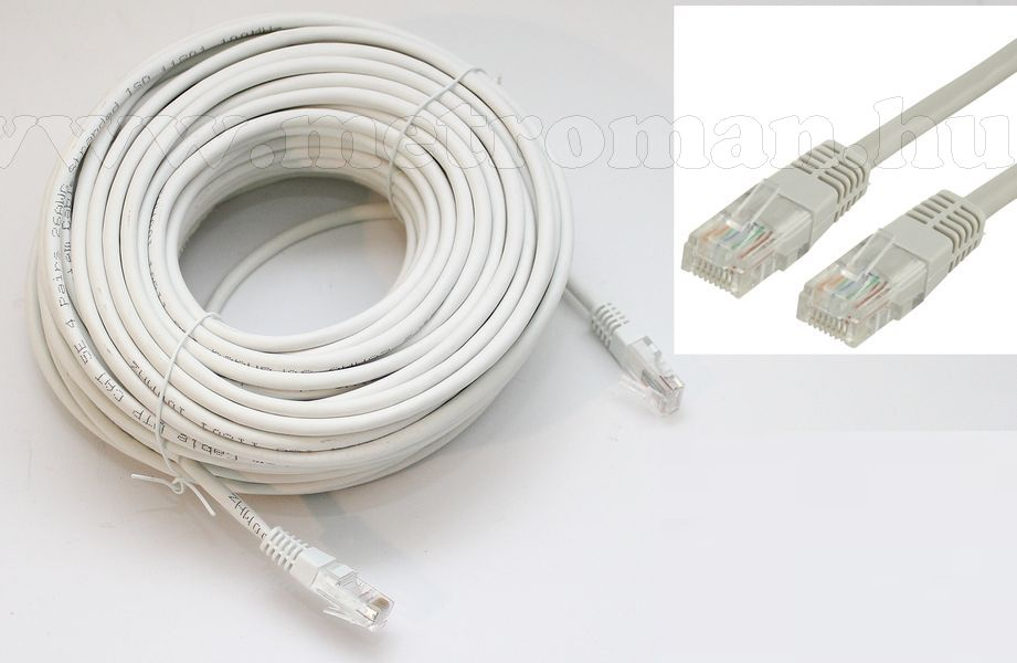 CAT5E UTP RJ45 szerelt kábel, PC-Hez, IP kamerához, 20 méteres