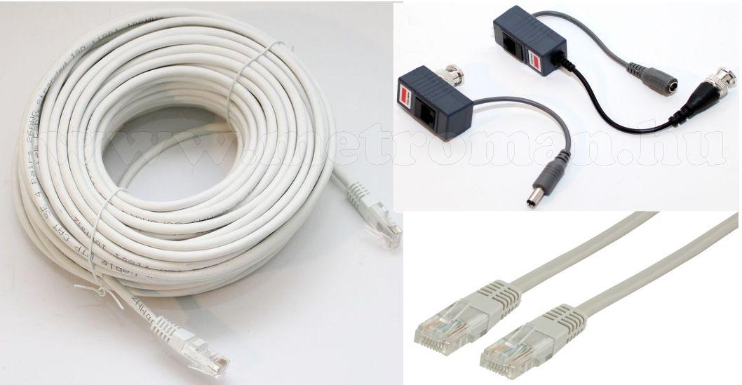 30 méteres szerelt kábel szett megfigyelő kamerákhoz UTP30+AV-568B