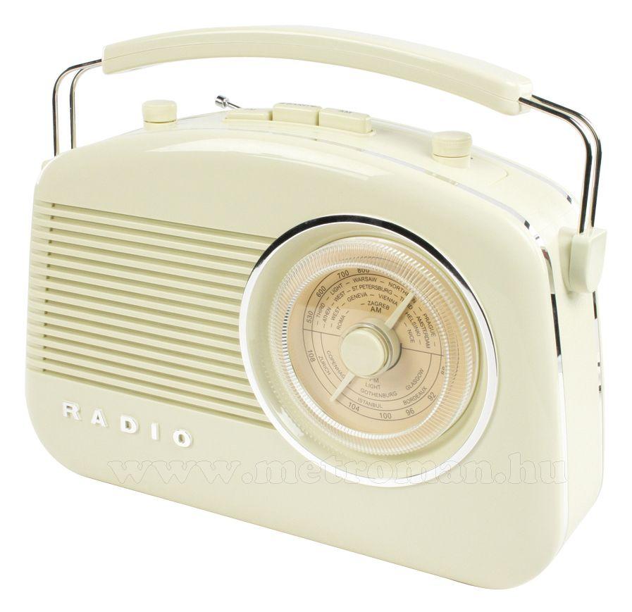 Retró rádió, elefántcsont színű, König HAV-TR710BE