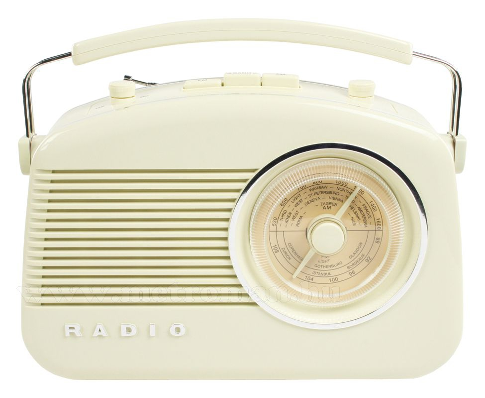 Retró rádió, elefántcsont színű, König RDFM5000BG