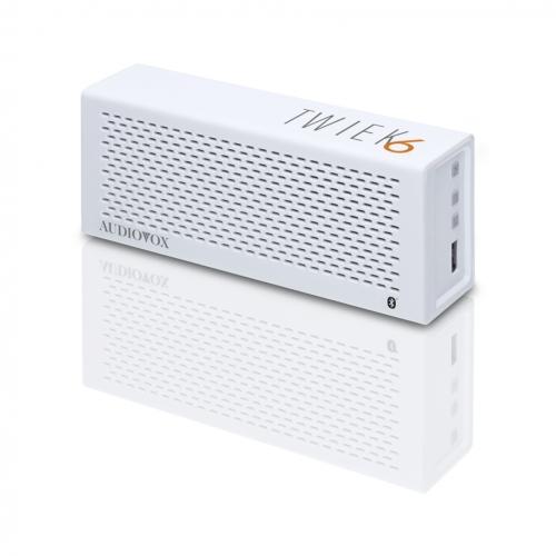 Hordozható Bluetooth hangszóró és telefon kihangosító, Audiovox TWIEK6 Fehér