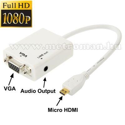 micro HDMI / VGA átalakító, Konverter okos telefonhoz, tablethez, Mlogic PC-0395