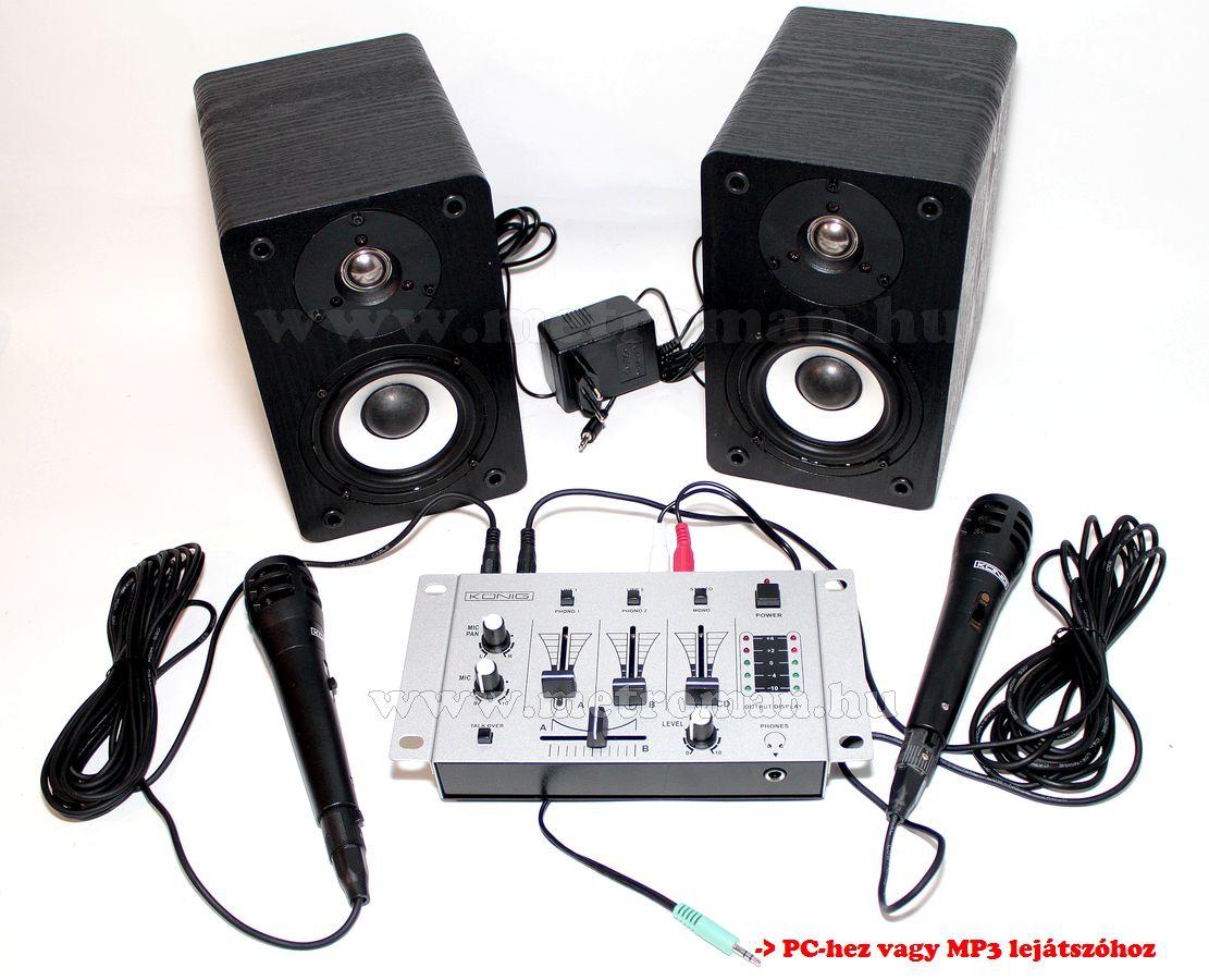 Mini karaoke szett, komplett,  beépített erősítős aktiv hangfalpár, keverő 2 db mikrofonnal, vezetékkel SAL10+MIC15