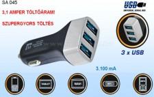 Nagyteljesítményű autós USB töltő, SA 045