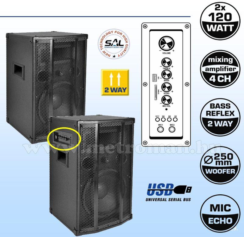 Aktív, beépített erősítős zenekari és karaoke hangfal, USB/SD MP3 lejátszóval SAL PAX 25A + ajándék videó játék