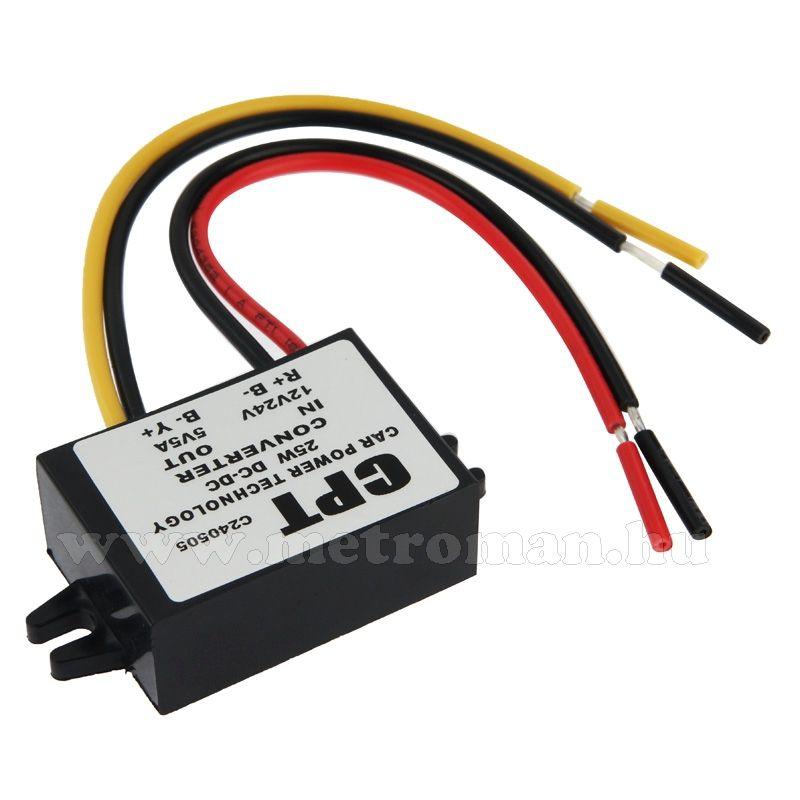 Feszültség átalakító , konverter 12-24 V / 5 Volt 5 Amper, CMS0115