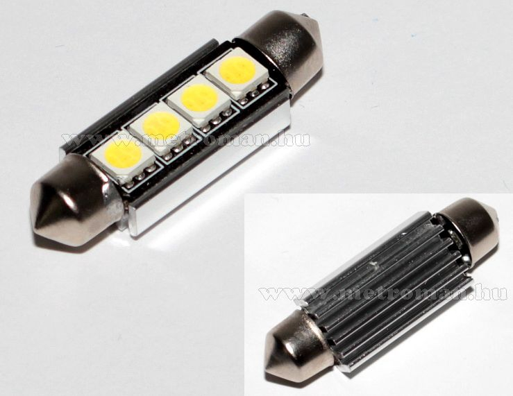 Autós szofita LED izzó, 4 db SMD LED-del, Can-Bus, 42 mm, MM-42MM4SMD5050