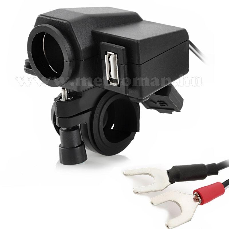Motorkerékpár szivargyújtó aljzat, vízmentes, 12 V, USB-vel