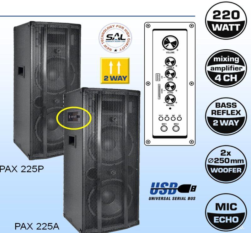 Karaoke szett, komplett,  beépített erősítős aktiv hangfal 2 db M 6 mikrofonnal, vezetékkel PAX225-M6