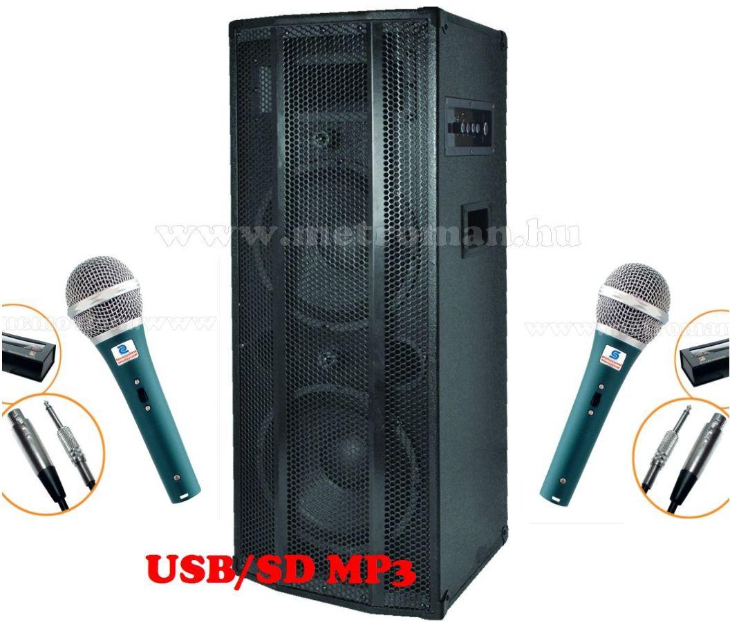 Karaoke szett, komplett,  beépített erősítős aktiv hangfal 2 db M 7 mikrofonnal, vezetékkel PAX225-M7