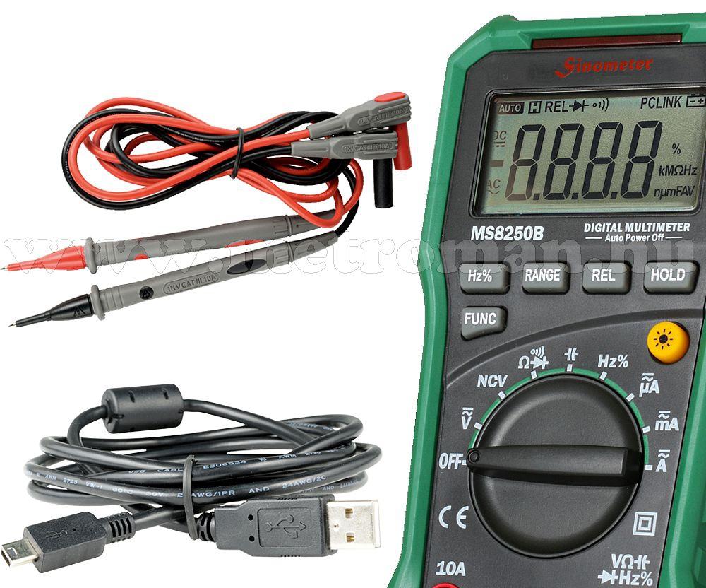 Professzionális digitális multiméter, PC-hez csatlakoztatható, MS8250B USB