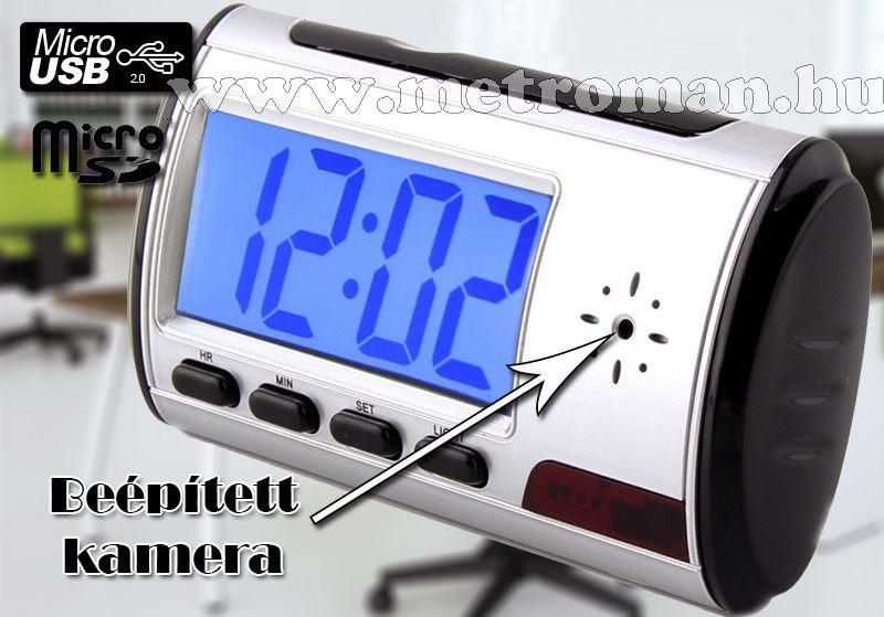Ébresztő órába rejtett SD kártyás, DVR rögzítős kamera