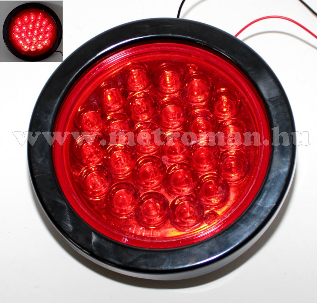 Autós, kör alakú, 12/24 Voltos LED lámpa, piros, LA-564R
