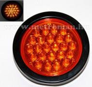 Autós, kör alakú, 12/24 Voltos LED lámpa, narancs sárga, LA-564Y