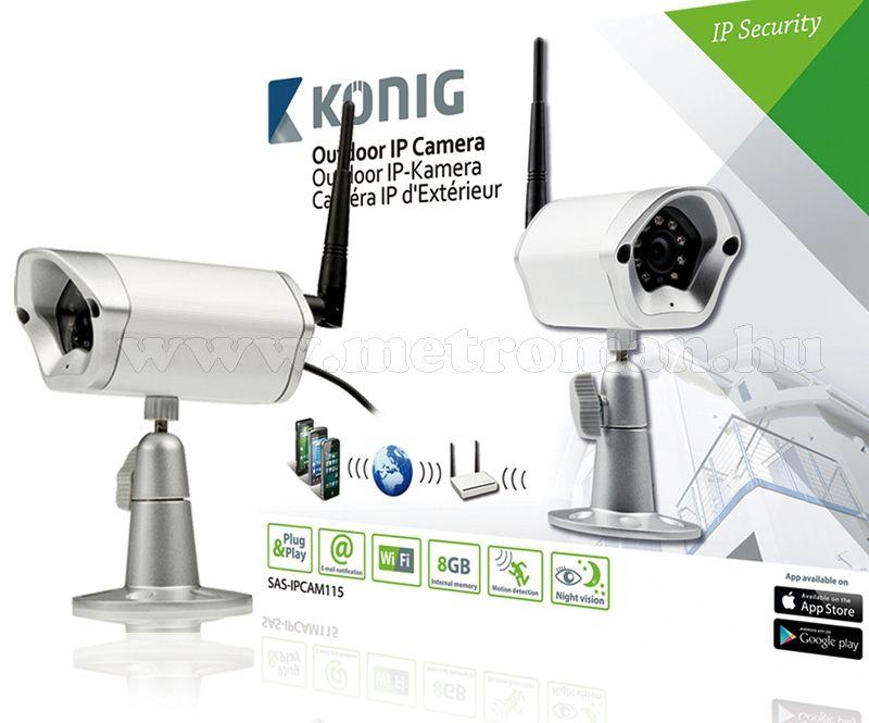 Kültétéri Vezeték nélküli Wifi  IP SD megfigyelő kamera, König IPCAM115