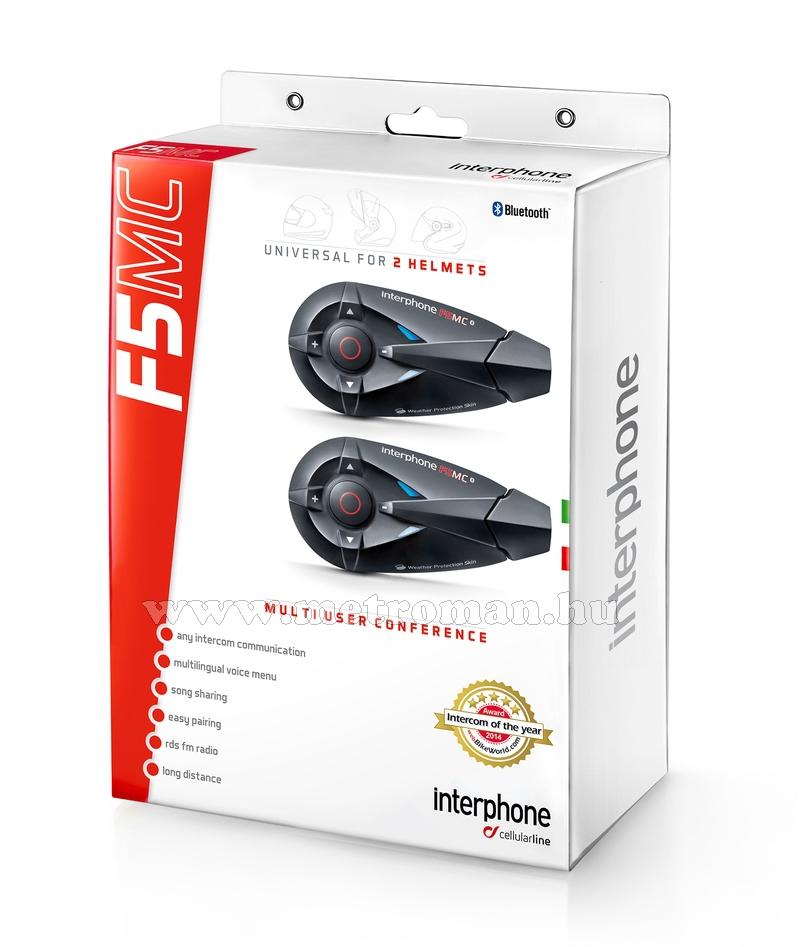 Motoros Bluetooth bukósisak kihangosító és headszett, InterPhone F5MC Twin Pack