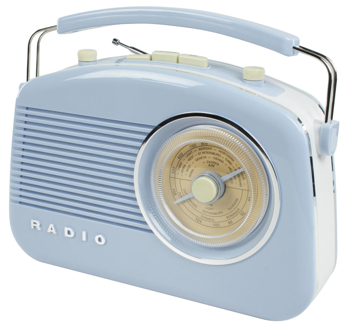 Retró rádió, világos kék színű, König HAV-TR710BE