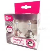 Halogén autó fényszóró izzó H7 GE Megalight +120% 12V 55W 58520SNU