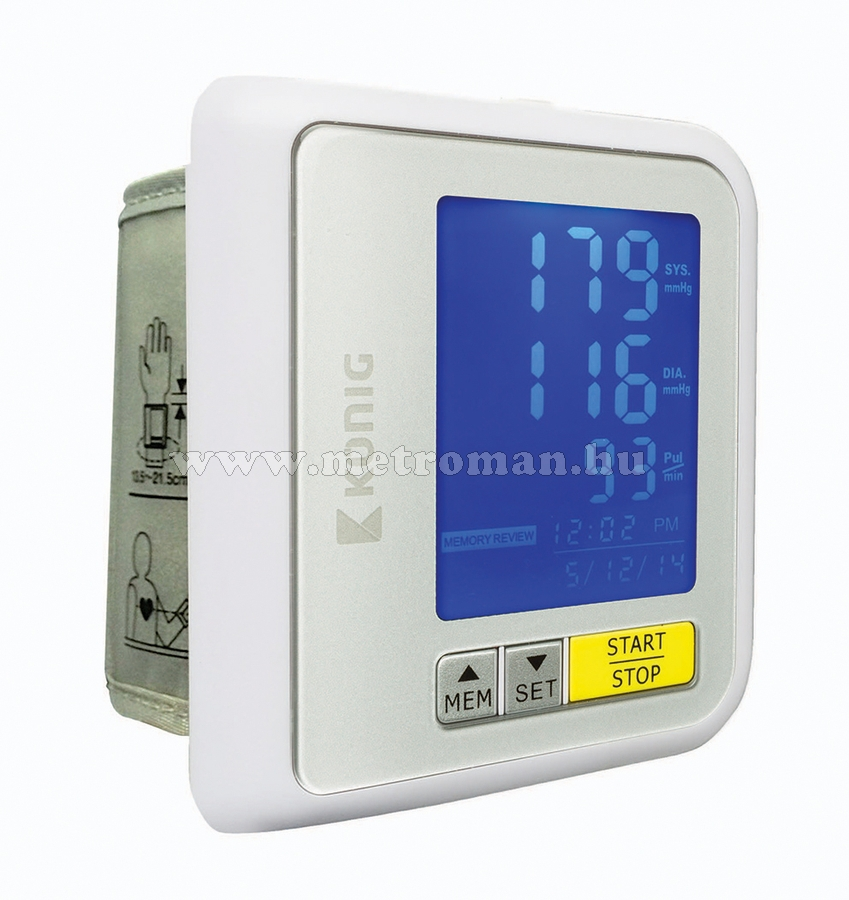 Bluetooth-os csuklós vérnyomásmérő König KN-BLDPRESS30B