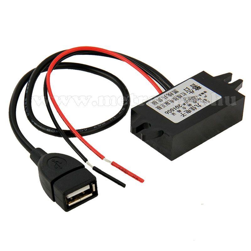 Beépíthető, autós USB töltő 3 Amper, MM-1231
