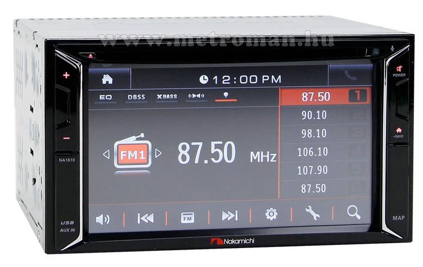 """DVD/USB/SD MP3 Navigációs multimédia autórádió, 6,2"""" LCD-vel, Nakamichi NA1610-Sygic full Európa térképpel"""
