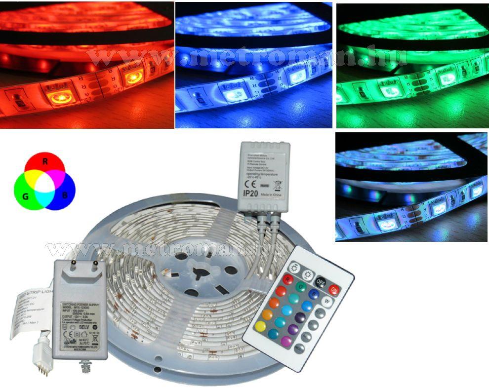 RGB színváltós, távirányítós LED szalag, 5 méteres, 5M5050RGB30