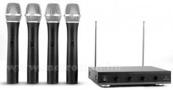 Vezeték nélküli mikrofon, 4 db kézi mikrofonnal , Auna VHF-4