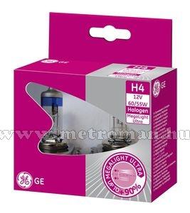 Halogén autó fényszóró izzó H4 GE Megalight +90% 12V 60/55W 50440SXU
