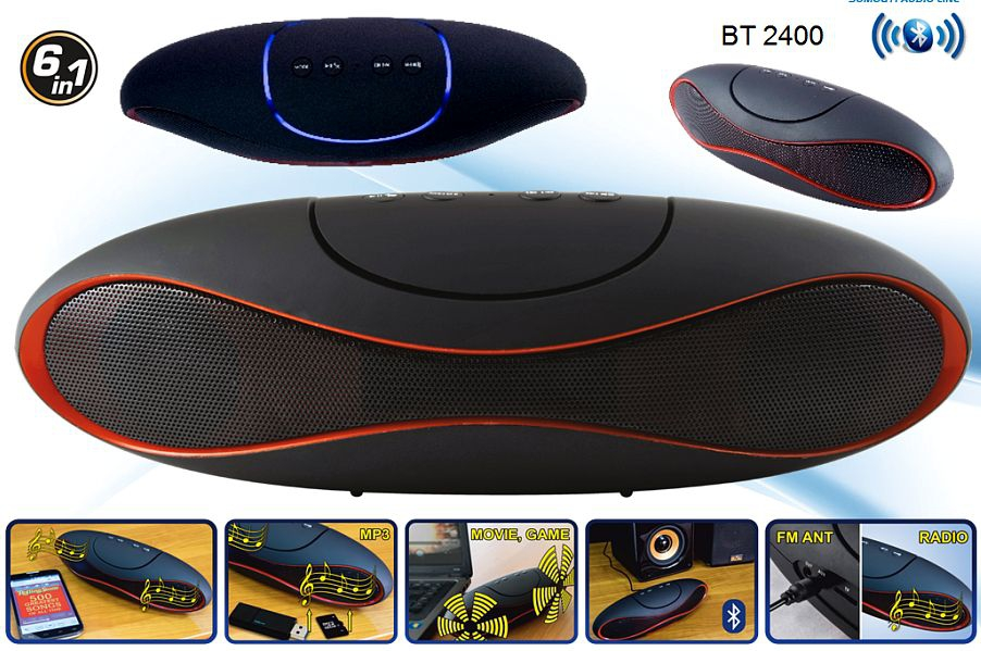 Hordozható USB/SD MP3 multimédia és bluetooth hangszóró, BT 2400