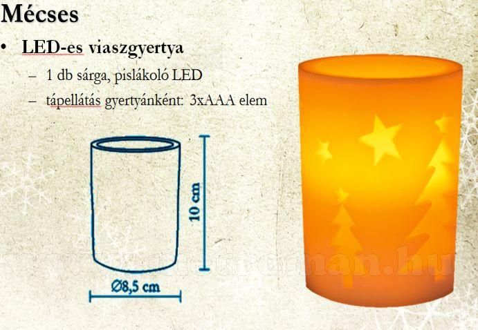 LED gyertya, viasz, fenyő mintás, CDW 11