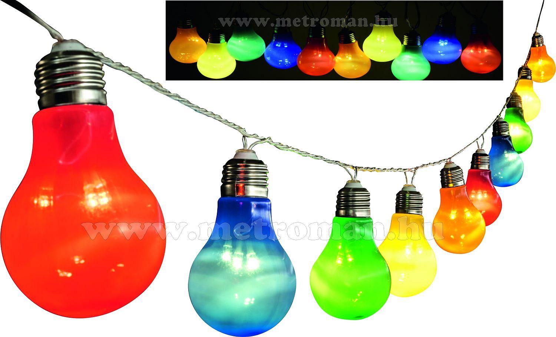 Kültéri, villanykörte LED fényfüzér, party fény, 10 gömb, 5 m, színes, LP 10/M