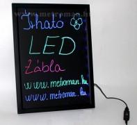 Írható világító LED tábla, 60x80 cm, fekete, plexi előlappal, LED-012
