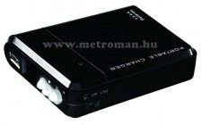 Vésztöltő, külső mobil akkumulátor, LED lámpával, PB 4AA/BK