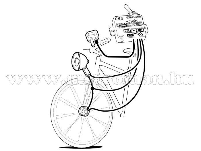 Kerékpár dinamóra köthető, Mobiltelefon, GPS Navigáció USB töltő, Kemo M172