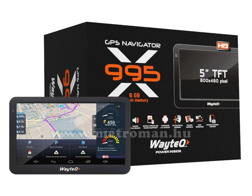 Wayteq X995 Android GPS navigáció + Sygic 3D Európa térkép