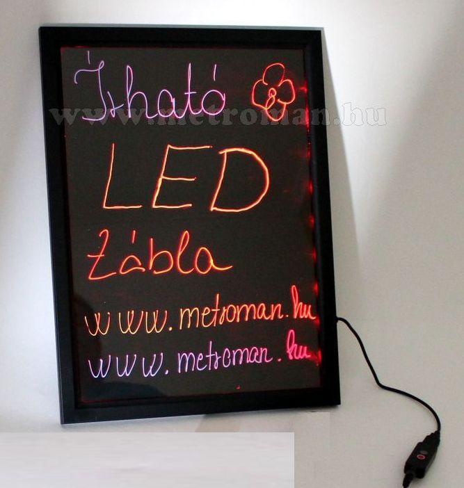 Írható világító LED tábla, 40x60 cm, fekete, plexi előlappal, LED-010