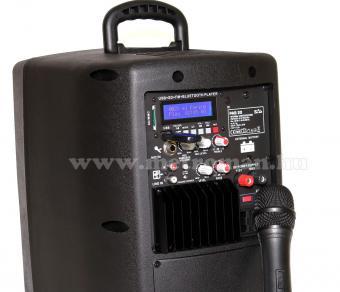Hordozható Karaoke szett USB/SD/Bluetooth MP3 lejátszóval, vezeték nélküli mikrofonnal , PAB 20