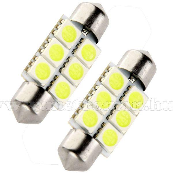 Autós szofita LED izzó, 6 db szuperfényes SMD LED-del, 39MM6SMD5050LED