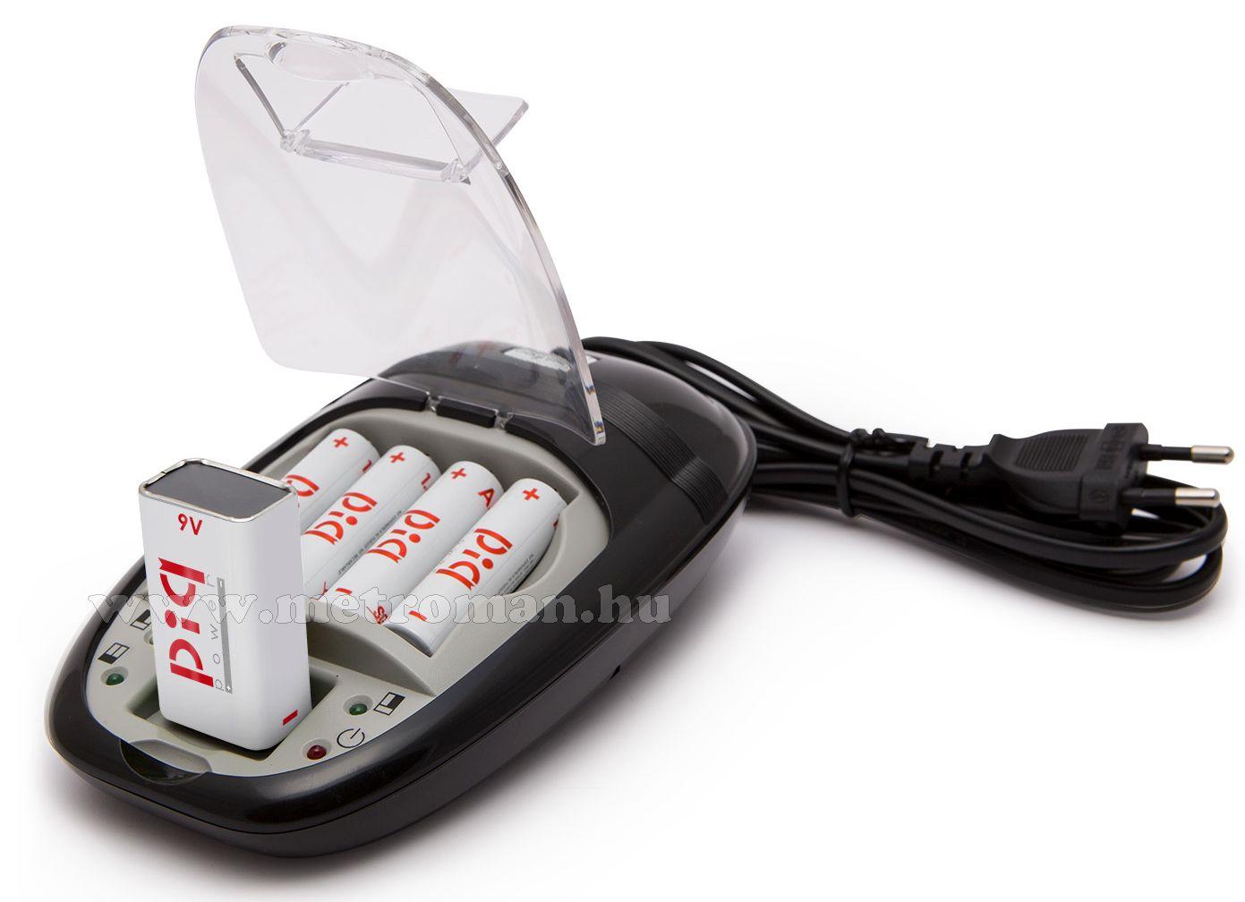 Akkumulátor töltő  AA/AAA és 9V méretű akkuhoz