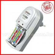 Akkumulátor töltő  AA/AAA akkuhoz, 2 db 2000 mAh AA akkuval