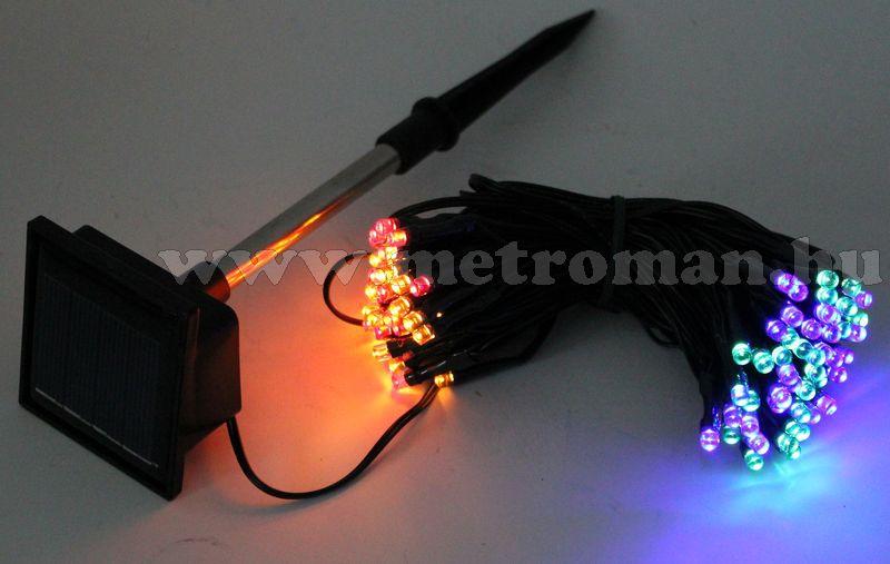 Napelemes Karácsonyi LED égősor, Fényfüzér, Kültéri, UKK7682M Színes
