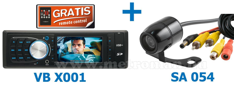 """M3 MP4 MP5 USB/SD autórádió 3""""-os LCD monitorral + tolatókamera szett, VB X001/SET"""